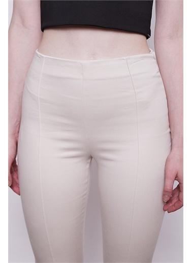 Jument Ön Arka Dikişli Dar Paça Tayt Pantolon - Beyaz Bej